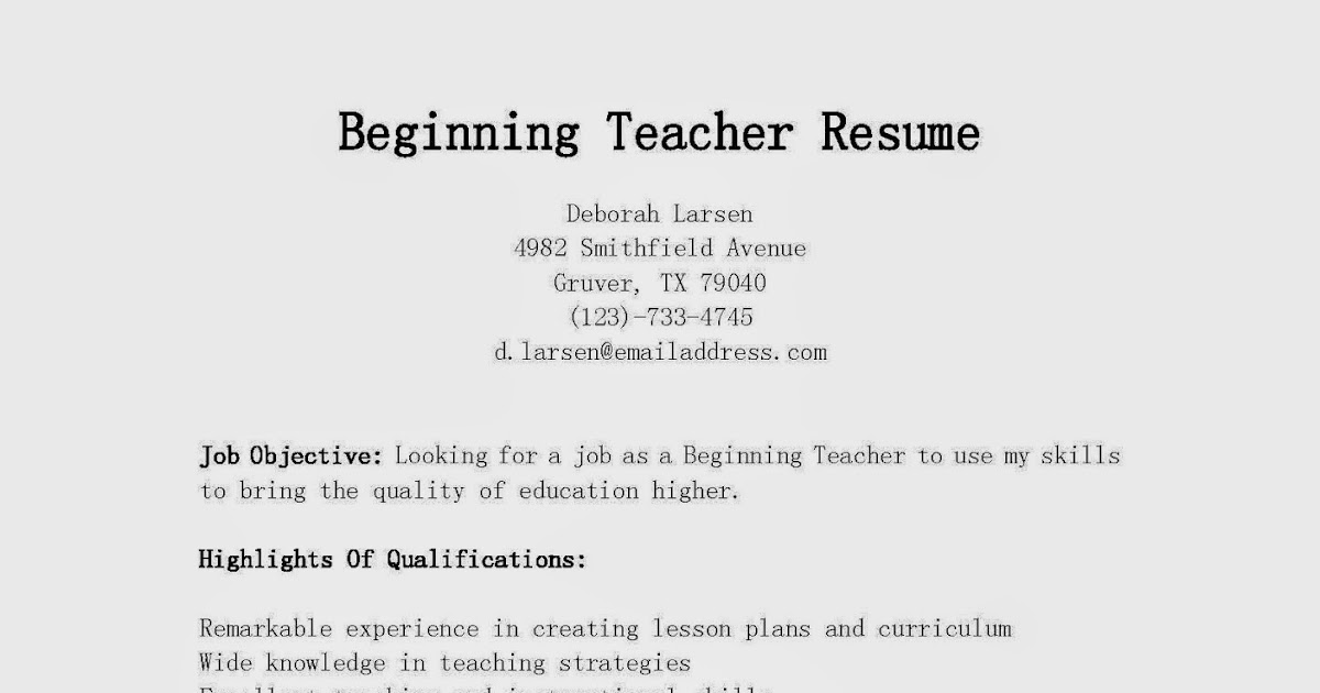 Beginning Teacher Resume Objective | Facebook Templates For Projects