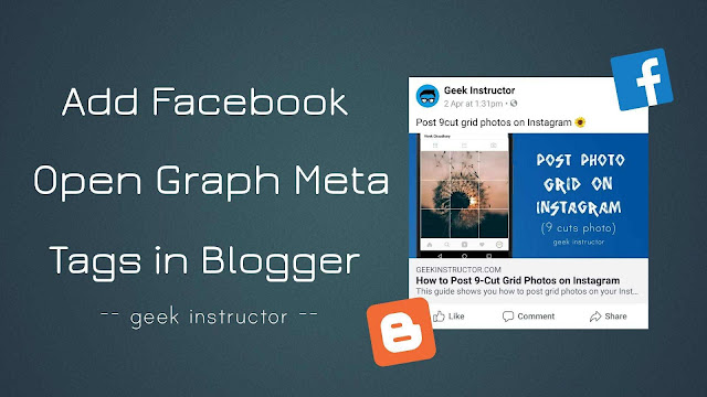Add Facebook open graph meta tags in Blogger