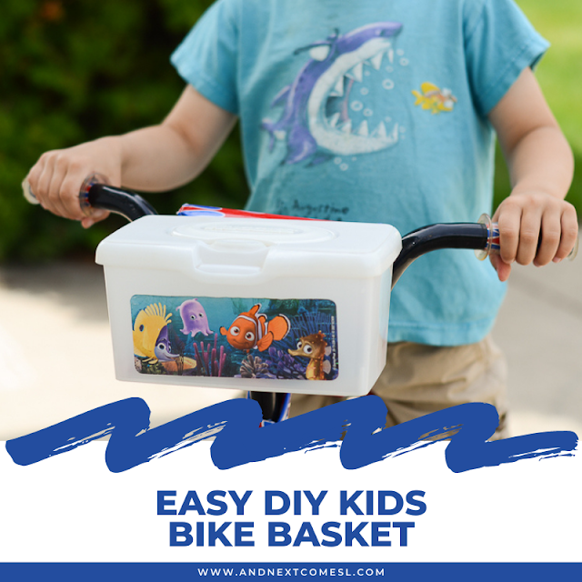 Easy DIY kids bike basket made from an empty wipes container