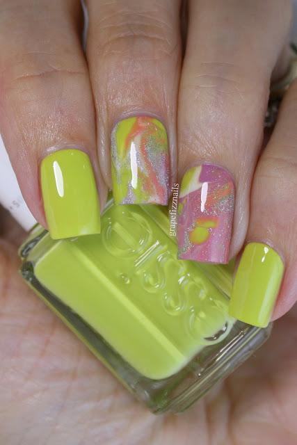 Essie Summer Drip Marble Nail Art