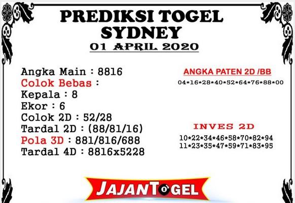 Prediksi Togel Sidney Rabu 01 April 2020 - Prediksi Jajan Togel