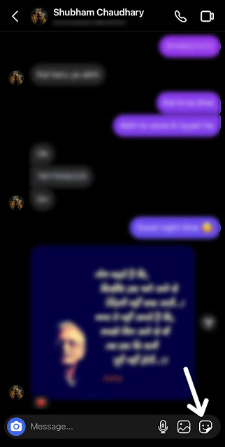 Click sticker option on chat