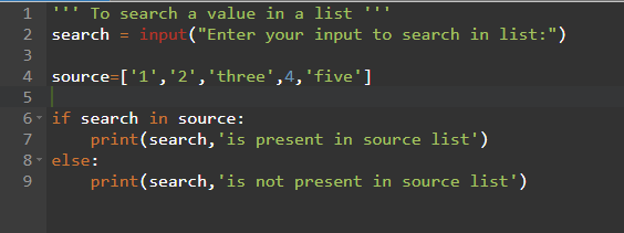 Python Program to search a value in a list using if-else