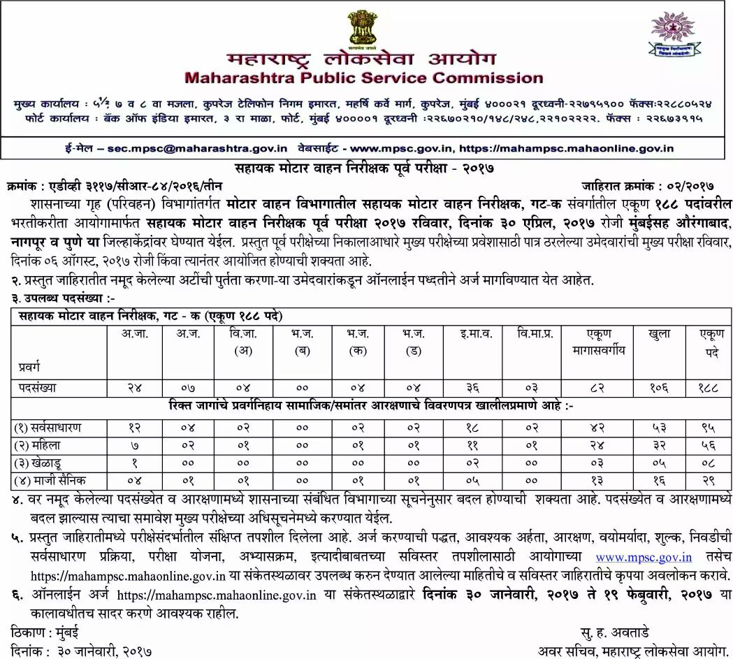 Mpsc rto assistant motor vehicle inspector recruitment for Motor vehicle service notification