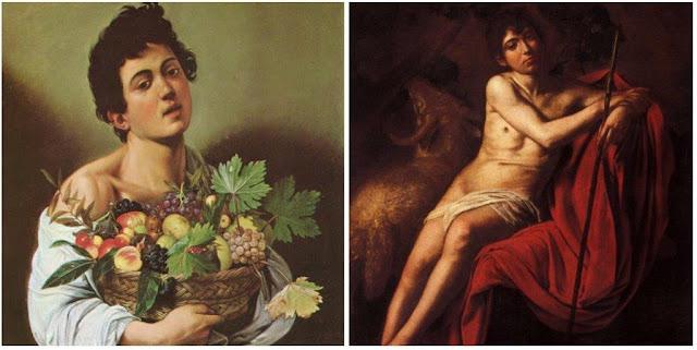 Cuadros Muchacho con cesto de frutas, San Juan Bautista de Caravaggio en la Galleria Borghese en Roma