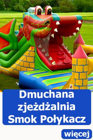 Dmuchana zjeżdżalnia smok połykacz, dmuchańce Kobierzyce, atrakcje dla dzieci, animator, festyn, piknik
