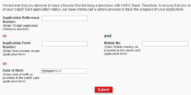 HDFC Bank Credit Card Status Track