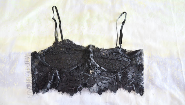 Details on the For Love and Lemons Knockout bra dupe black scalloped eyelash lace bustier bralette from Dresslink.