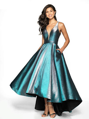 Metalic Mikado open back flair prom Dress Blue/silver color