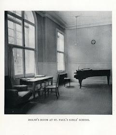 Gustav Holst's Broadwood piano in the music studio at St Paul's Girls' School