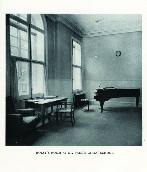 Gustav Holst's Broadwood piano in the music studio at St Paul's Girls' School