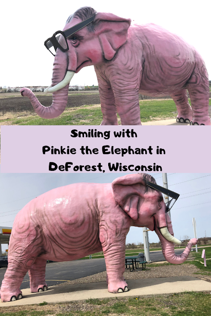 Pinkie the Elephant at a Shell gas station in DeForest, Wisconsin provides for a fun roadside attraction stop near Madison, Wisconsin.