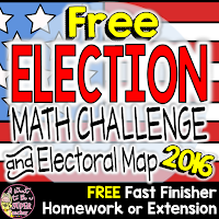 A free 2016 presidential election math challenge and electoral map perfect for a whole class activity, math morning work, fast finisher, homework assignment, or extension in grades 2-4.