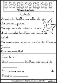 Pequenos textos para alfabetização com estrela