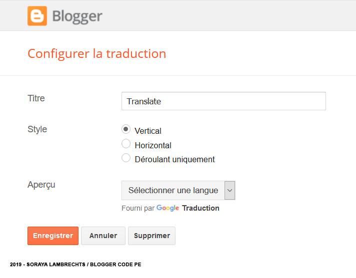 Le panneau de configuration du gadget Translate