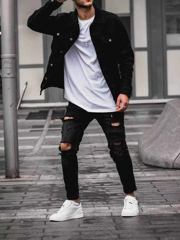Black jeans, white t-shirts and Denim jacket.