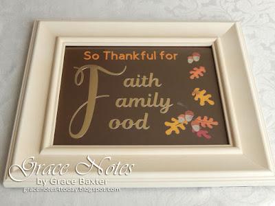 Faith, Family, Food Thanksgiving wall art, framed. Created by Grace Baxter