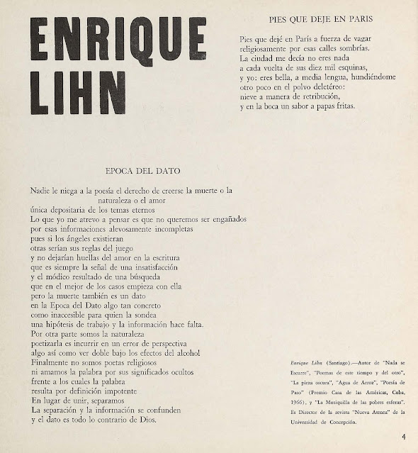 Poesía de Enrique Lihn en Revista Tebaida