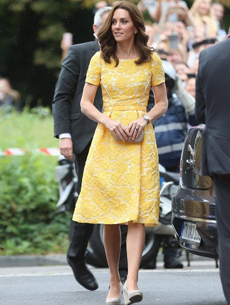 The Duchess wore Jenny Packham Yellow Dress for Heidelberg visit. Kate's wearing her Monsoon Fleur wedges