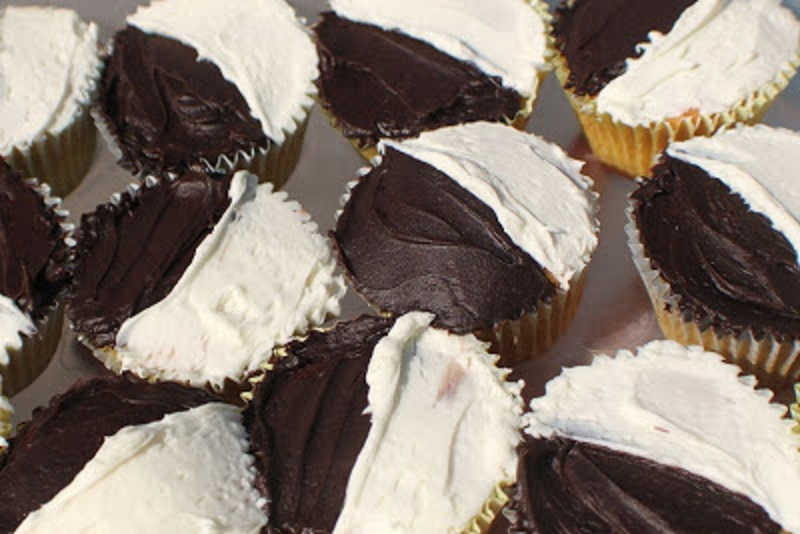 cupcakes with chocolate and white frosting called half moon cupcake made popular in Utica New York
