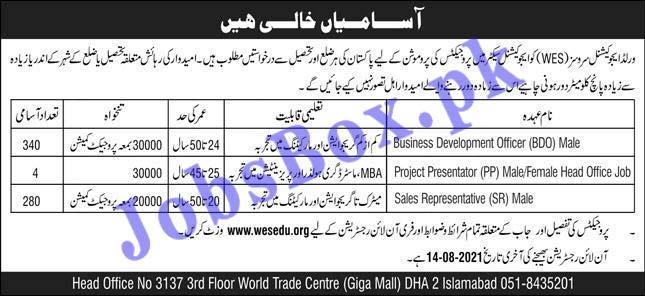 www.wesedu.org Jobs 2021 - World Educational System WES Jobs 2021 in Pakistan