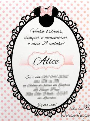 convite artesanal infantil personalizado aniversário loja de laços minnie mouse poá rosa delicado menina