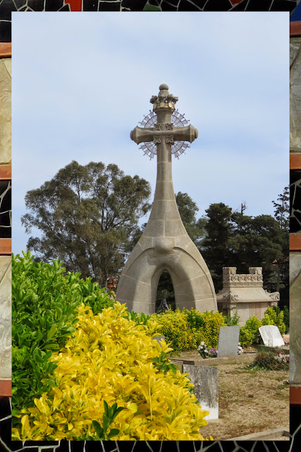 Large stone cross at Lloret cemetery in Lloret de Mar, Costa Brava, Spain