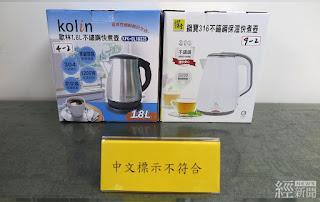 快煮壺檢測中文標示不符商品