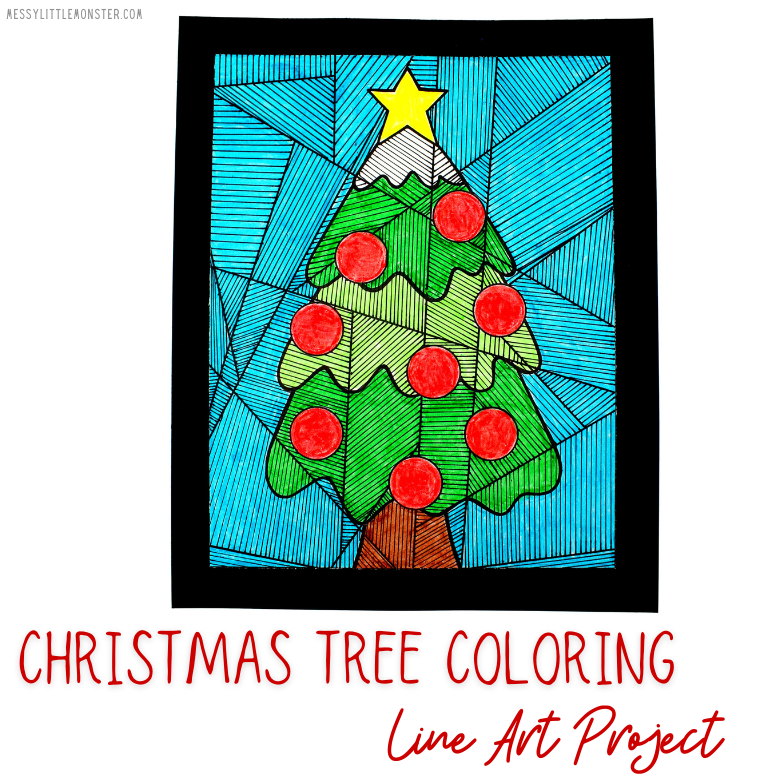 Christmas tree coloring page line art project