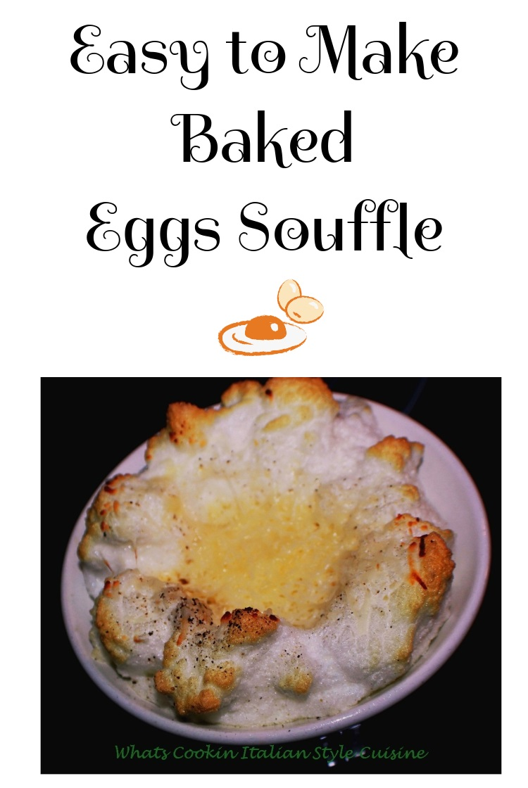 Baked fluffy eggs with a perfectly cooked egg in the middle. A healthy baked egg buttery flavor and light breakfast in a souffle style ramekin