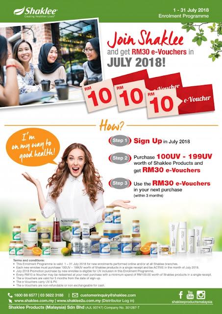 Be Member Shaklee get Free RM30 Voucher
