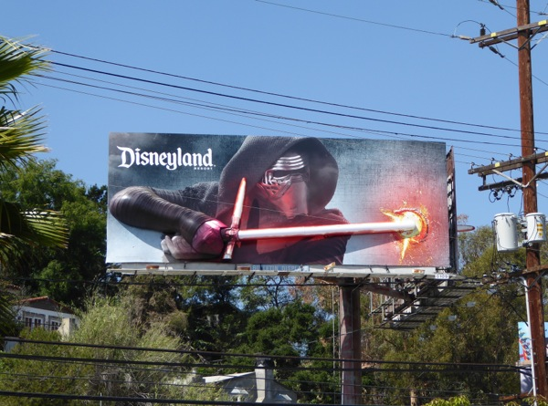 3D Kylo Ren lightsaber Disneyland Star Wars Awakens billboard