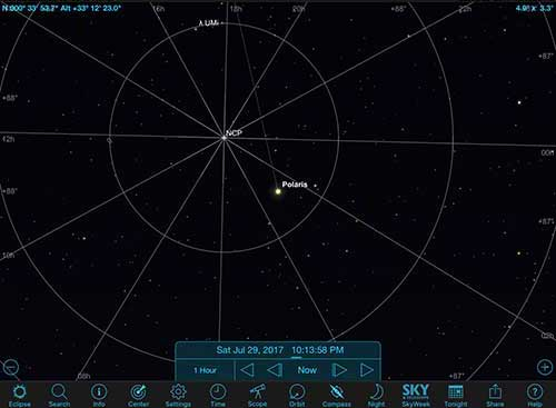 Screenshot from Sky Safari Pro showing actual position of Polaris (Source: Palmia Observatory)