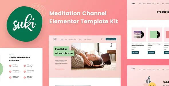 Best Meditation Channel Elementor Template Kit