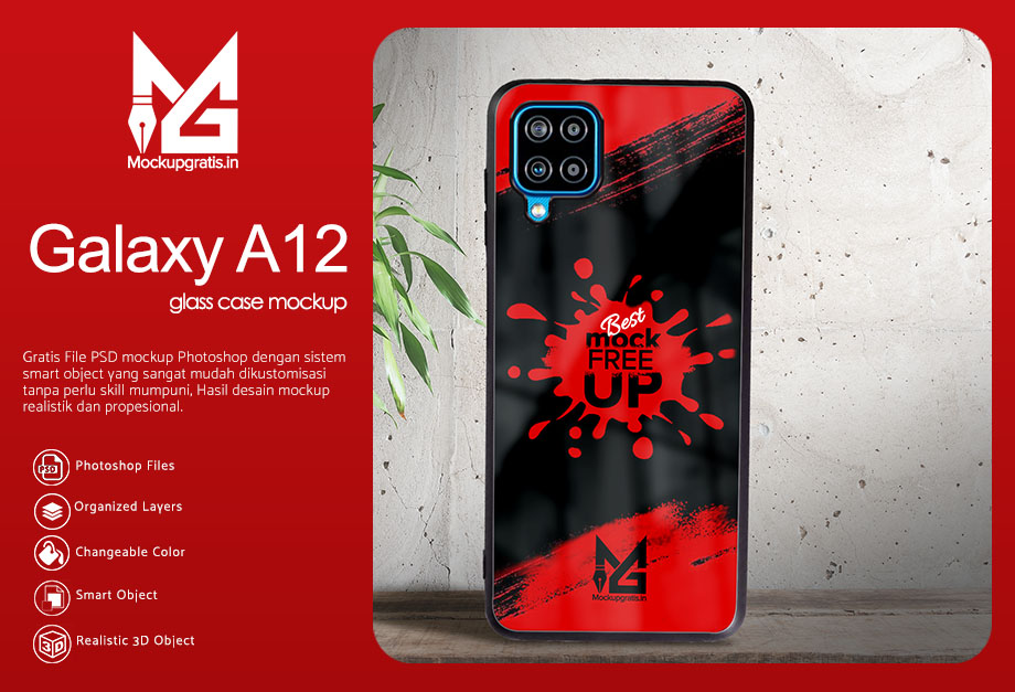 Mockup Glass Case Samsung Galaxy A12