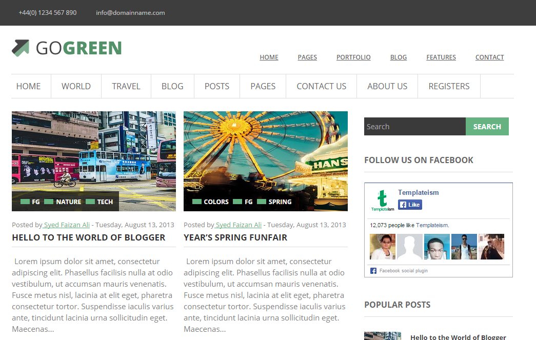 GoGreen blogger template | 101helper