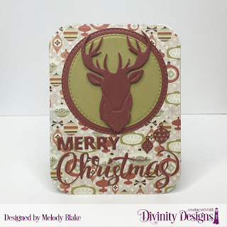 Stamp/Die Duos: Deer Silhouette, Custom Dies: Merry Christmas, Double Stitched Circles, Rounded Rectangles, Paper Collection: Retro Christmas