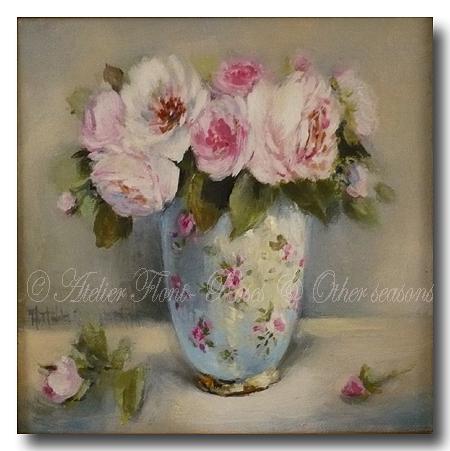 bouquet de roses anciennes et porcelaine. Black Bedroom Furniture Sets. Home Design Ideas