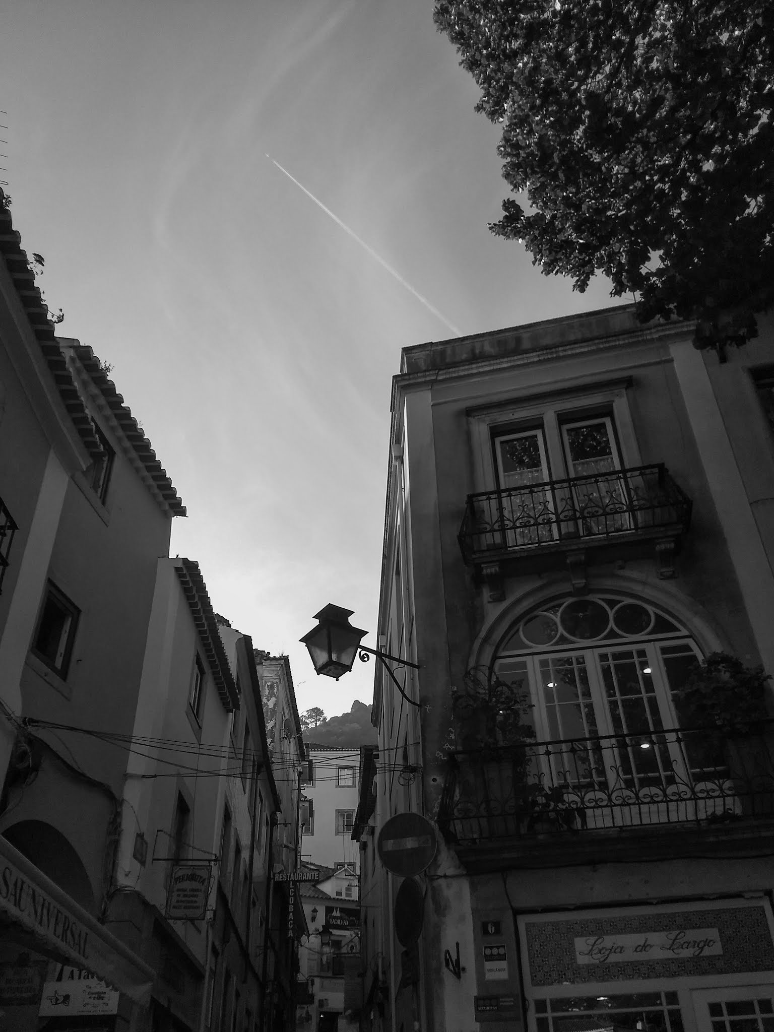 Windows in a building on a street in Sintra in black and white.