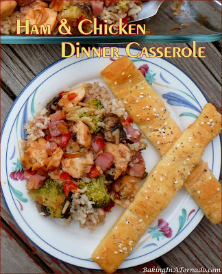 Ham and Chicken Dinner Casserole, everything you need for a balanced meal. This casserole can be prepped a day ahead of time, then just assemble and bake.   Recipe developed by www.BakingInATornado.com   #recipe #dinner