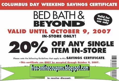 Have official online coupons, product offers, savings events and more delivered to your inbox. Bed Bath & Beyond - Connect with us and receive a 20% off single item offer for .