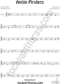 Flauta Travesera, flauta dulce y flauta de pico Partitura de Antón Pirulero Sheet Music for Flute and Recorder Music Scores
