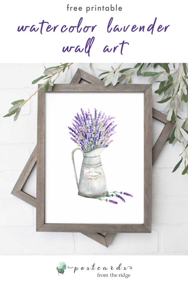 free watercolor lavender in pitcher printable art