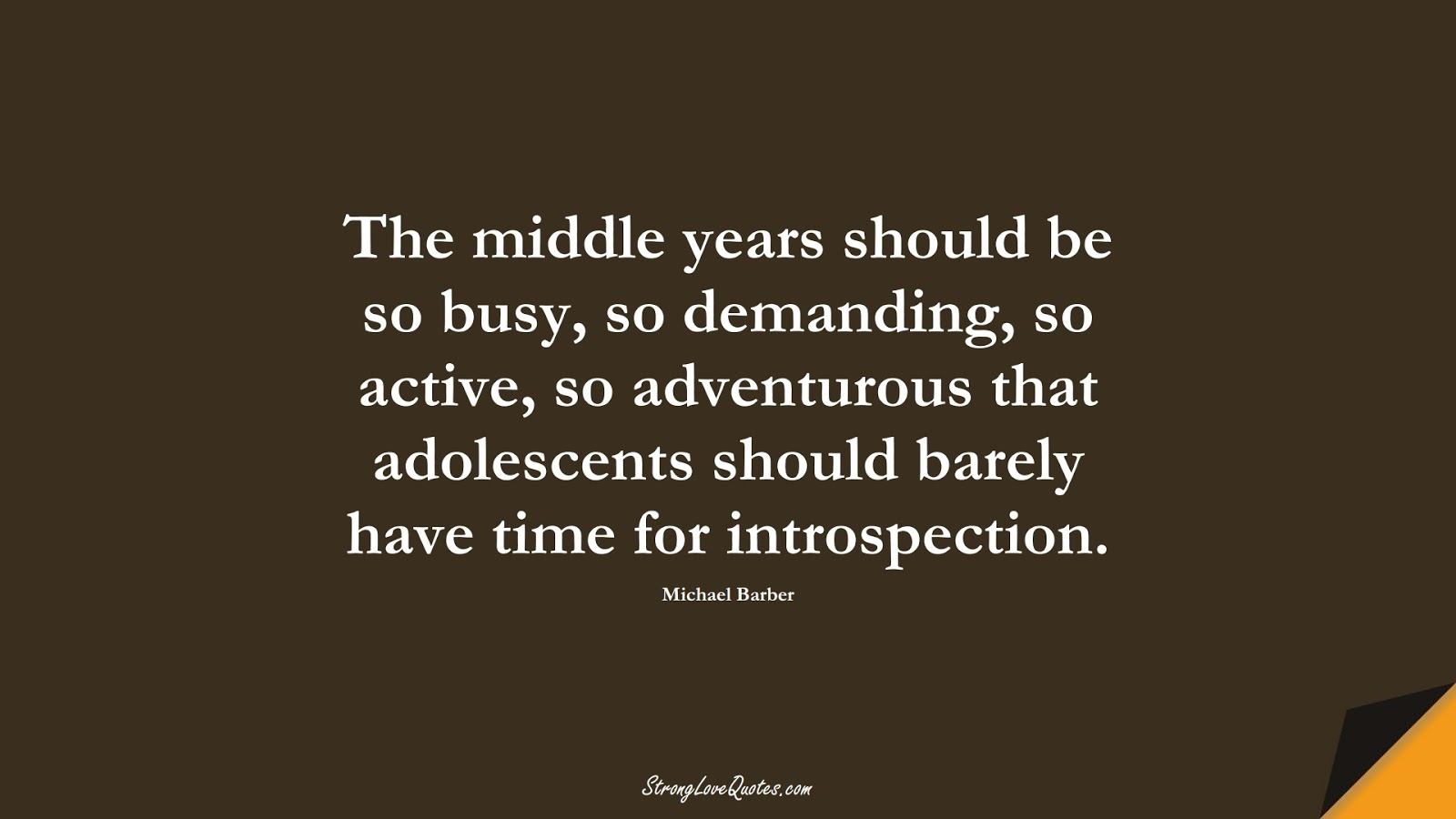The middle years should be so busy, so demanding, so active, so adventurous that adolescents should barely have time for introspection. (Michael Barber);  #EducationQuotes
