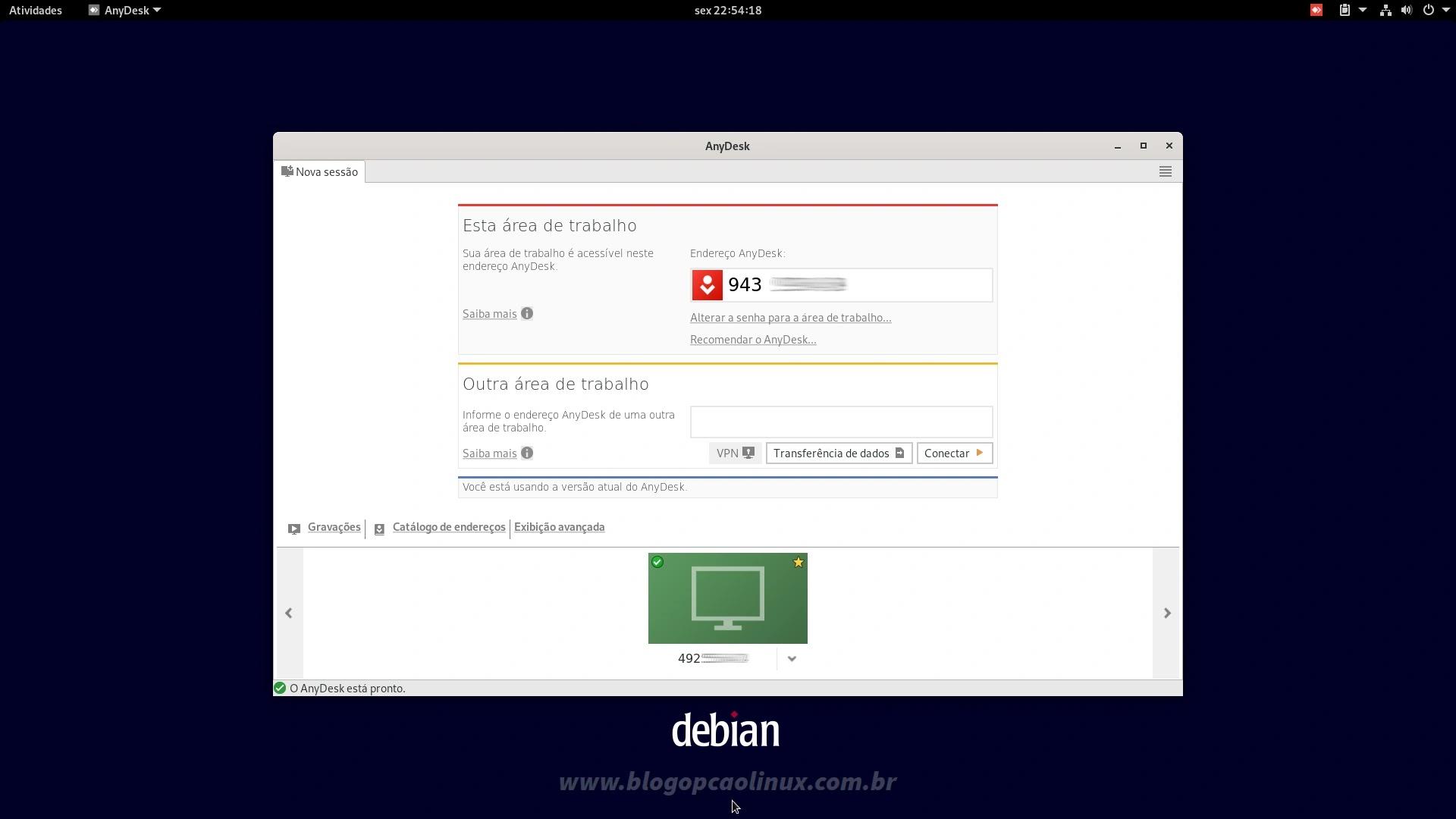 AnyDesk executando no Debian 11 'Bullseye' com ambiente de área de trabalho GNOME
