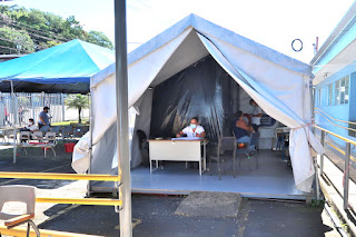 Outdoor tent building for covid injections