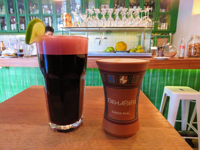 Chicha morada made from purple corn from Pachapapa in Cusco Peru