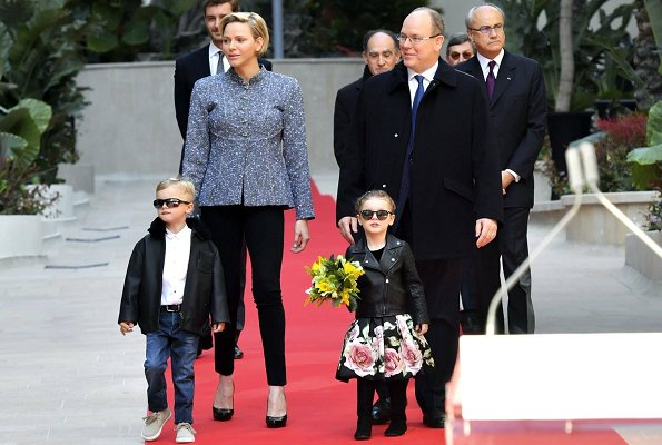 Prince Albert, Prince Jacques, Princess Gabriella and Pierre Casiraghi. Princess Charlene is wearing Akris jacket