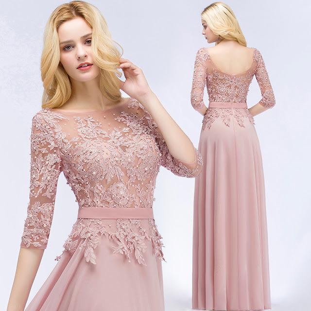 Peach color bridesmaid dress