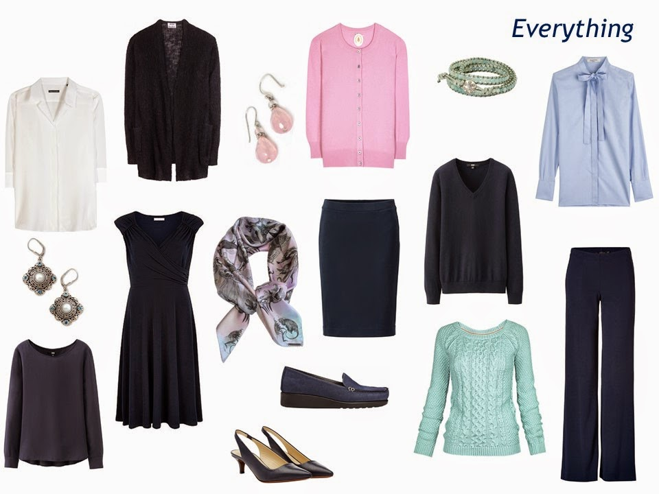 "10-piece navy and pastel wardrobe including a navy ""Monday Morning Wardrobe"""